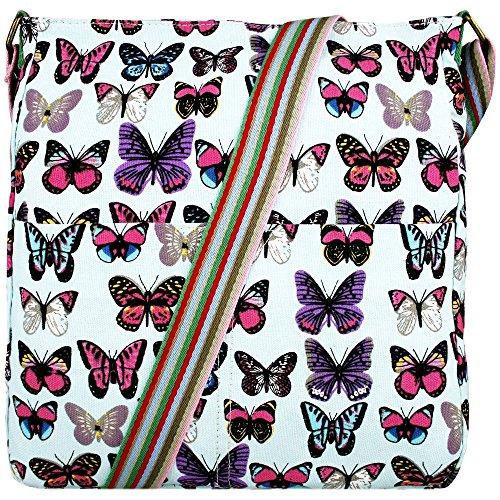 Owl Ladies Butterfly Cross leaves Rainbow Miss Messenger Shoulder Body Canvas Strap School Butterfly Blue LuLuPolka Handbags Dot XqITE