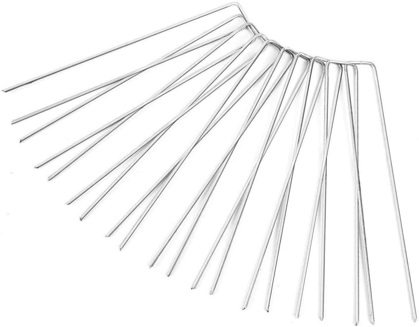 Fleece Turf ZanLLW 50Pcs 9 Gague 6 Inch Galvanized Steel Garden Staples Stakes U Type Heavy Duty Anit-Rust Pins Pegs for Securing Weed Fabric Blocker Netting Ground Sheets Landscape