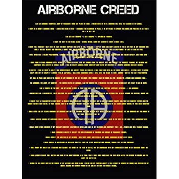Amazon com: Airborne Creed Poster Army Airborne Army Poster