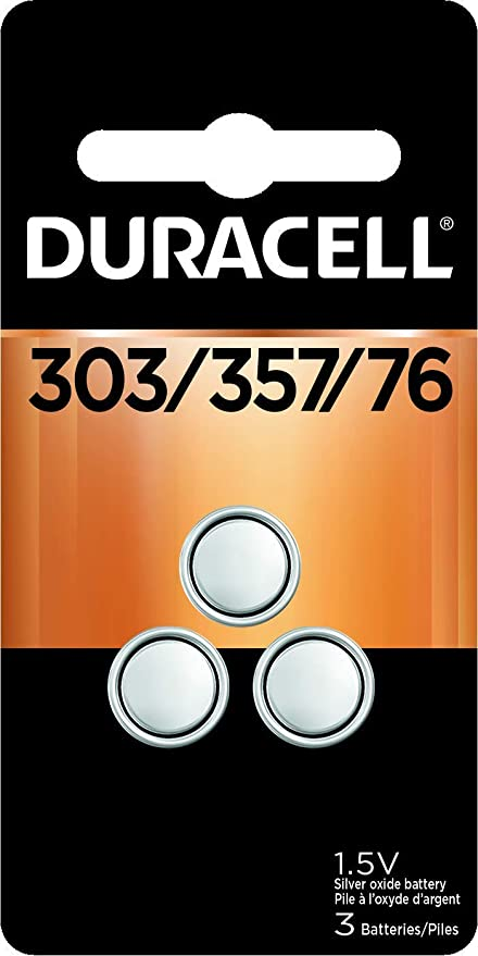 Duracell - 303/357/76 Silver Oxide Button Battery - long lasting battery - 3 count