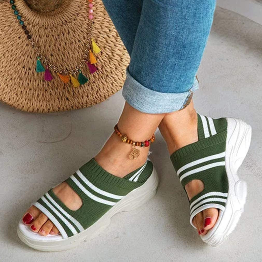 Timetries Women/'s Open Toe Ankle Strap Knitting Flatform Platform Wedge Sandals