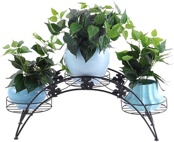 Dazone Arche en m/étal /él/égante pour patio Pr/ésentoir avec 3 pots de fleurs Noir