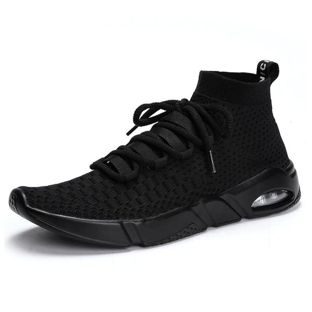 Los hombres ocasionales elásticos zapatillas de deporte transpirables zapatillas de deporte de aire ligero zapatos de gimnasia de tejer zapatos de senderismo al aire libre GAOLIXIA ( Color : Black , tamaño : 44 ) 44|Black