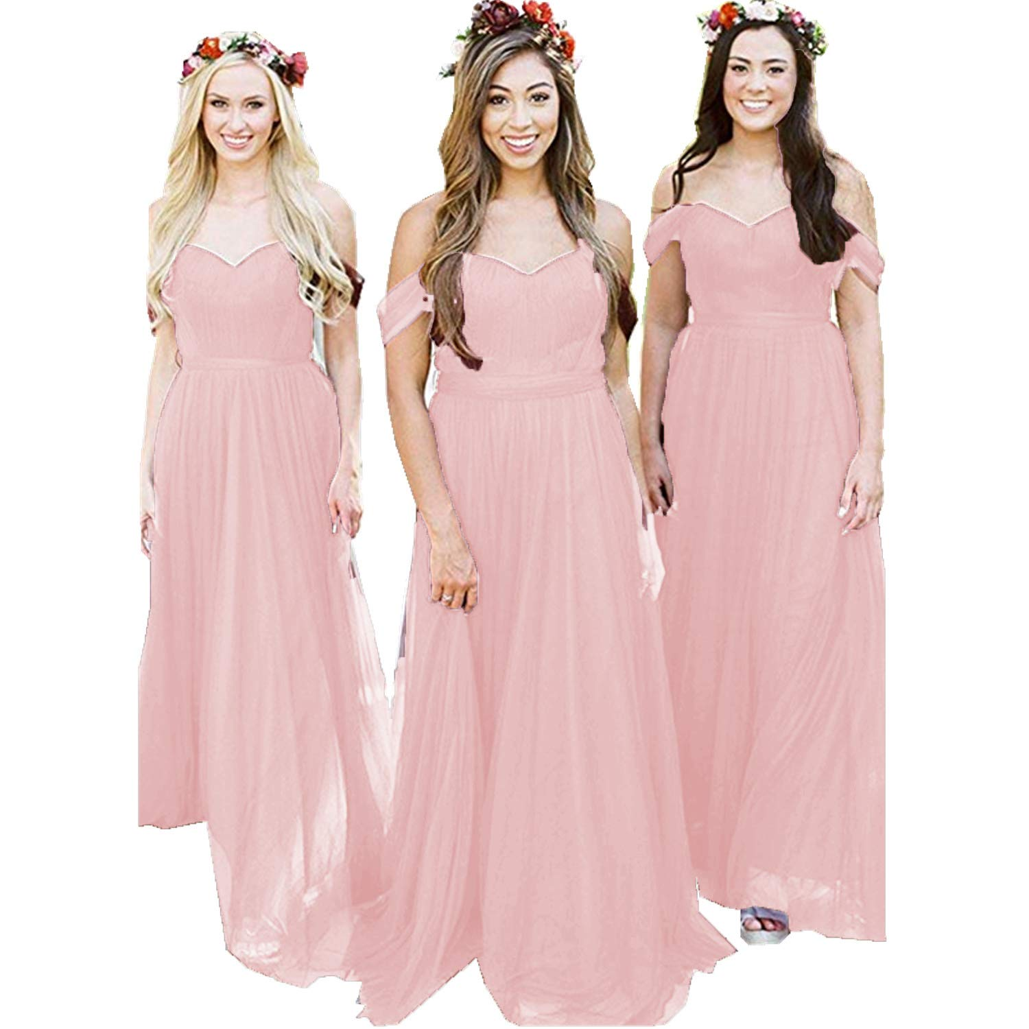 Pink Ruiyuhong Women's Off The Shoulder Bridesmaid Dresses Long Tulle Wedding Party Gown