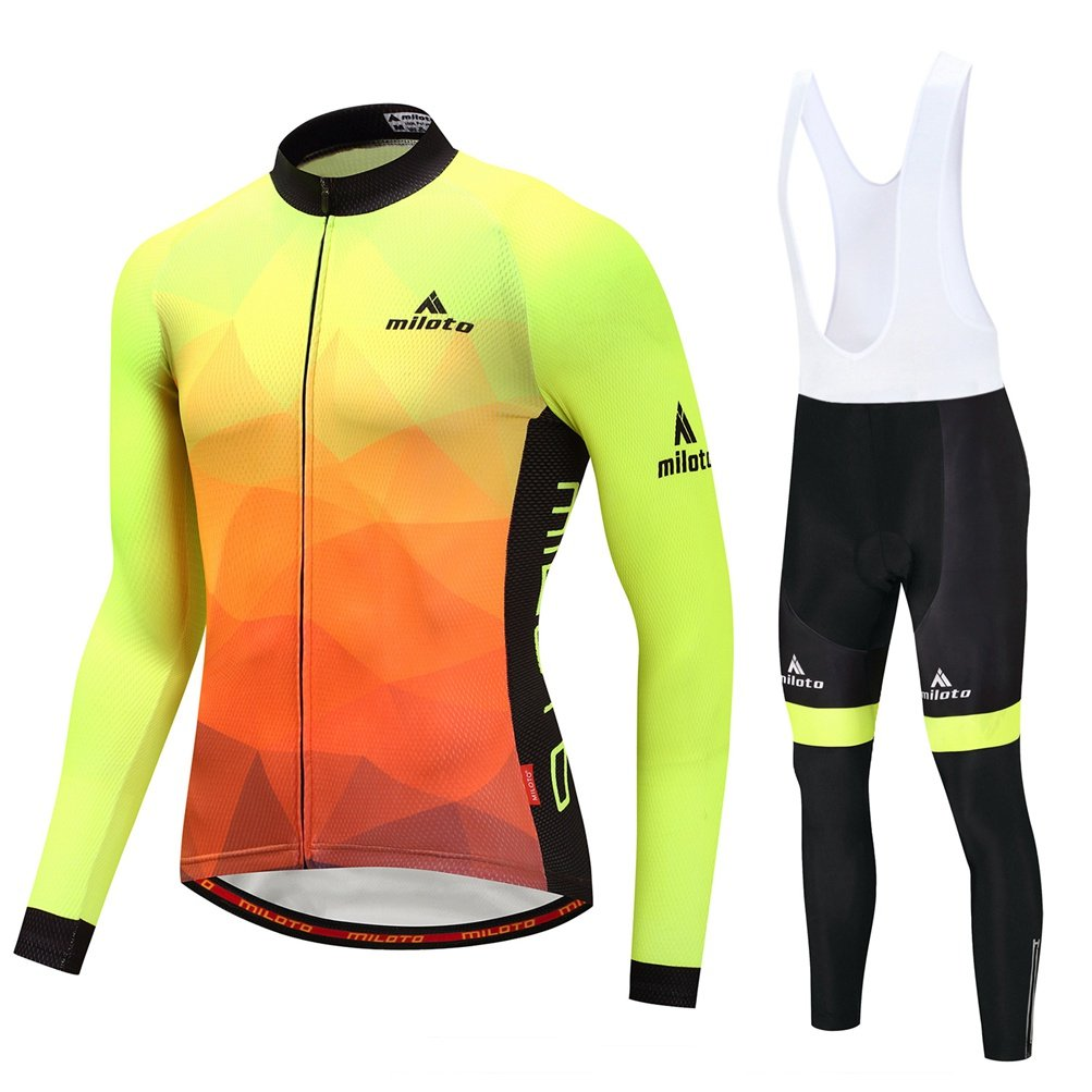 安い Uriah Yellow Men 's 40.9''=Tag B07CBN359B Cycling Jersey andホワイトよだれかけパンツ熱フリースセット長袖反射 Chest 40.9''=Tag L Fluorescence Yellow B07CBN359B, COX ONLINE SHOP:7939a044 --- arianechie.dominiotemporario.com