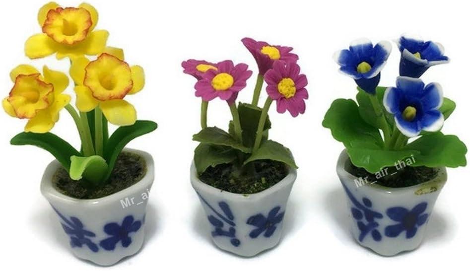 3pc Miniature Flower Clay Dollhouse Fairy Garden Mini Plant Trees Ceramic Paint Furniture Bundles Artificial Flowers Tiny Orchid #057