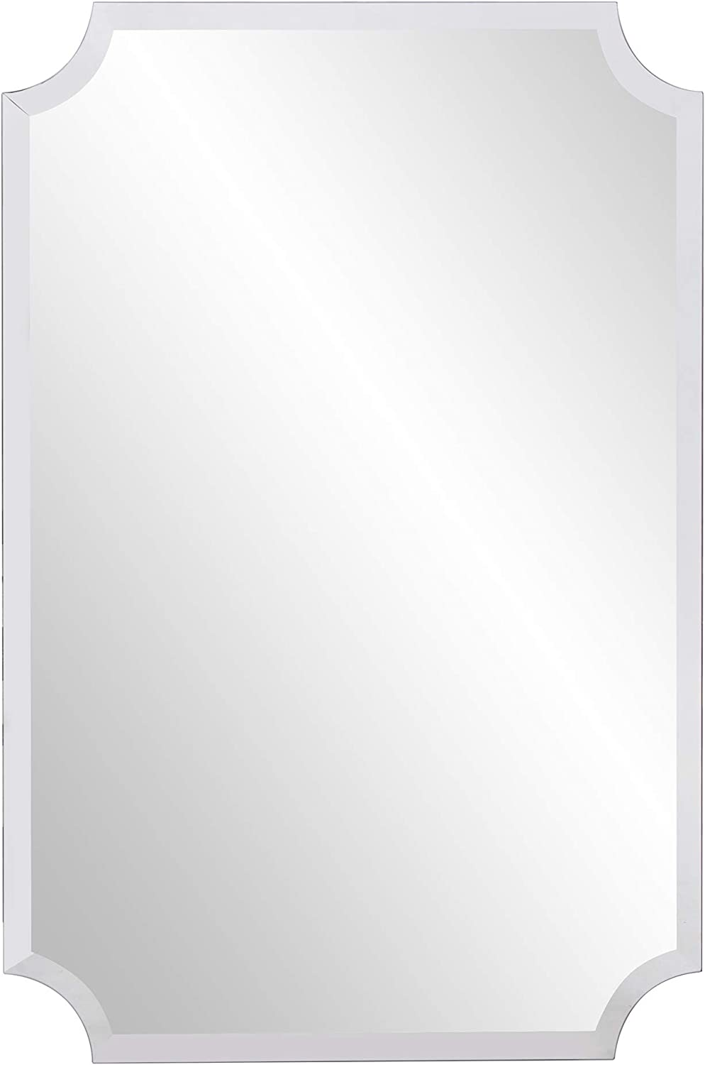 Howard Elliott Frameless Scalloped Hanging Wall Mirror, Rectangle (24 x 36 Inch), Silver - Bathroom, Vanity, Bedroom: Home & Kitchen