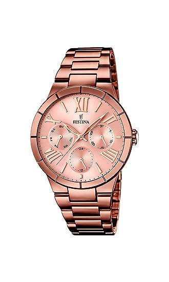Festina F16798/1 - Reloj de pulsera mujer, acero inoxidable chapado, color marrón: Festina: Amazon.es: Relojes