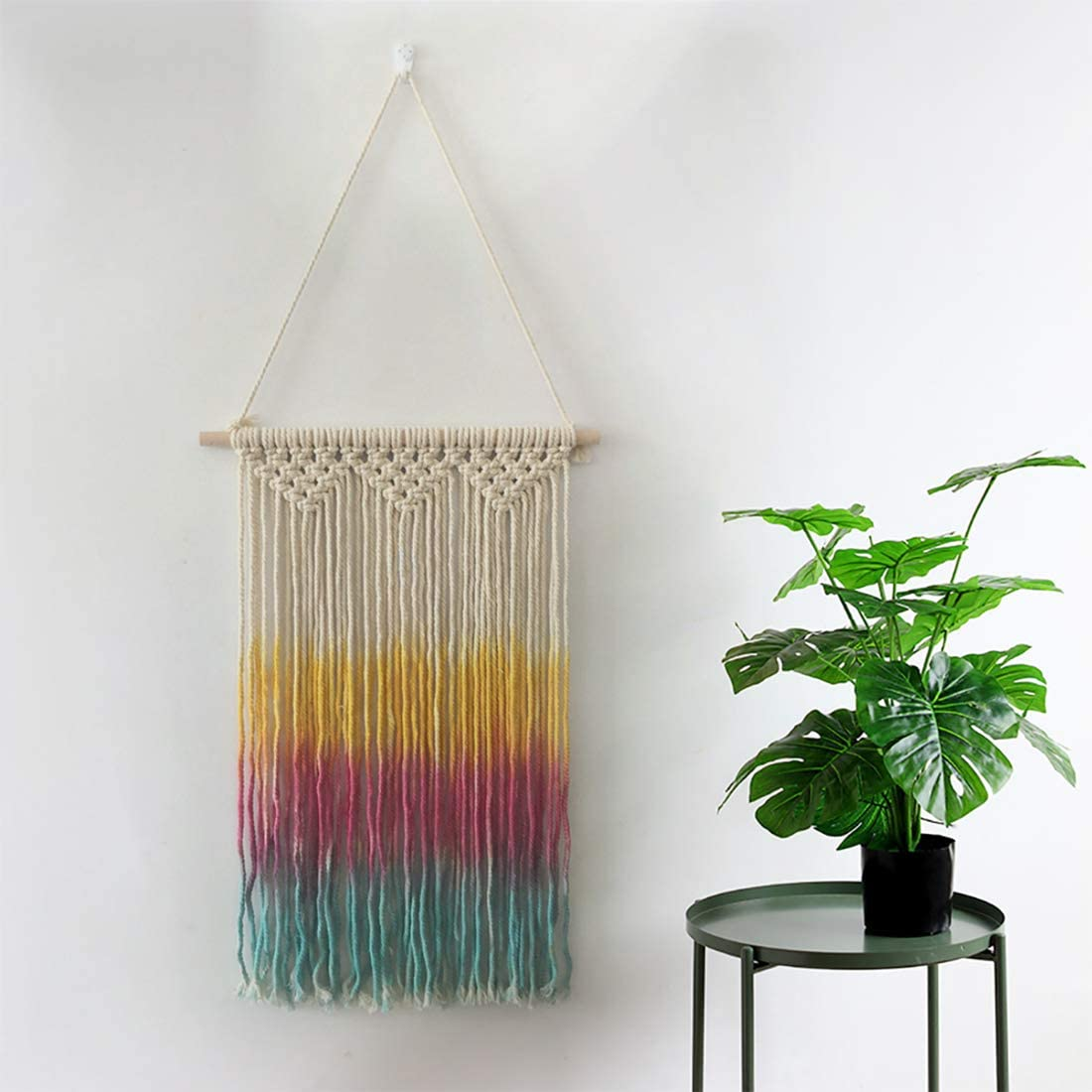 IHOMEIS Colorful Macrame Wall Hanging Woven Rainbow Colorful Handmade Woven Tapestry Boho Bohemian Home Décor Craftmanship Yellow, Pink and Sky Blue