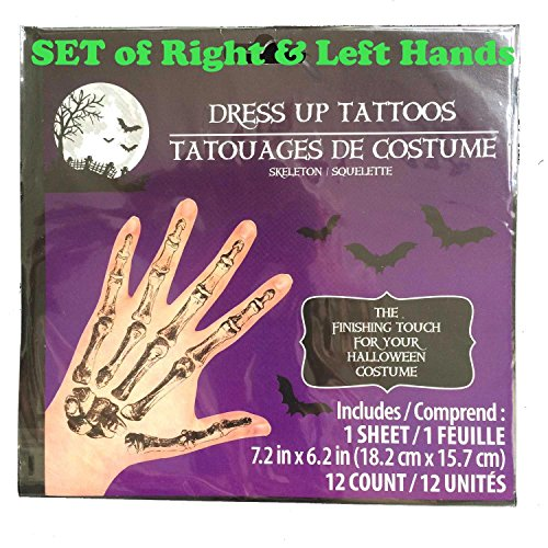 (Realistic Gothic SKELETON HAND BONES Temporary Fake Tattoos Adult Costume)