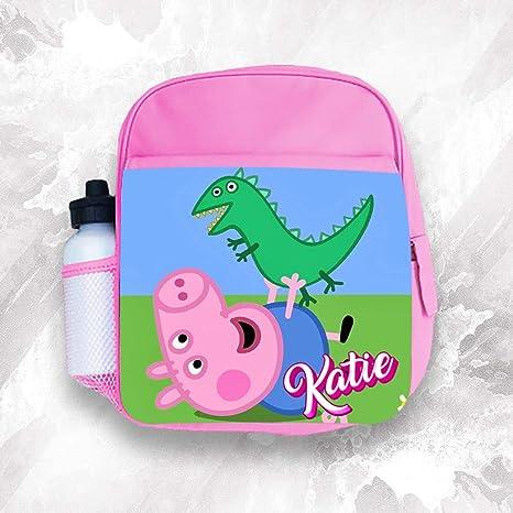 Mochila infantil personalizada con cualquier nombre Peppa Pig para niña, 1 bolsa escolar