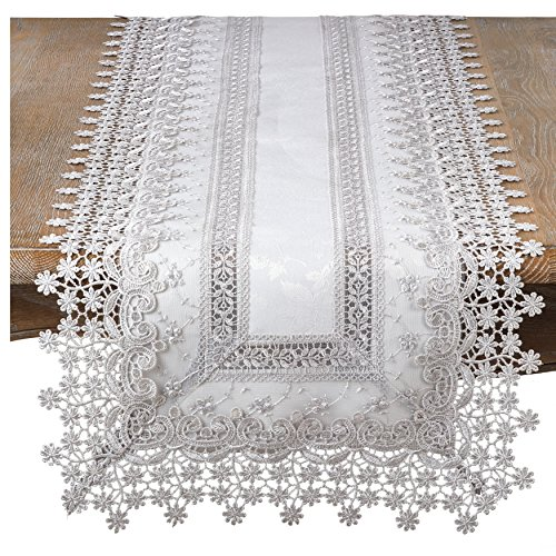 - SARO LIFESTYLE Elegant Embroidered Floral Applique Table Runner, 18