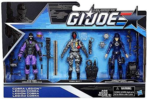 Gi Joe Bazooka (G.I. Joe, 50th Anniversary, Cobra Legion Exclusive Action Figure Set (SAW Viper, Cobra BAT, and Cobra Officer), 3.75 Inches)