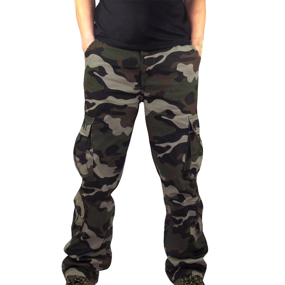 HHei_K Mens Plus Size Casual Cotton Solid Camouflage Pocket Work Long Trouser Sport Overalls Pants