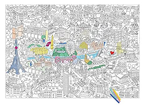 Poster gigante para colorear, diseño de París! plongez el corazón de ...