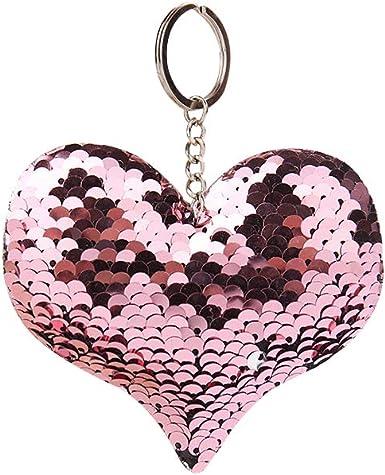 Fashion Heart Shape Sequins Glitter Key Chain Handbag Car Keyring Jewelry Gifts