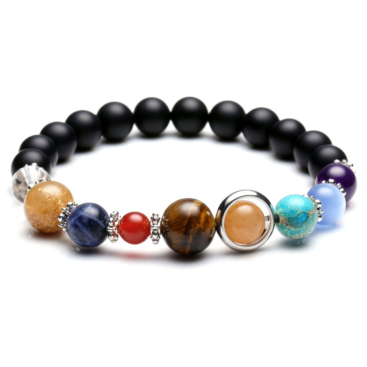 bcf3e85bcb Crystal Tears Natural Reiki Healing Gemstone Bead Solar System Adjustable  Bracelet Universe Galaxy The Nine Planets Guardian Star (Scrub Black  Agate)  ...