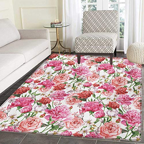 Watercolor Flower Bath Mats Bathroom Victorian Floral Pattern Painting Style Print Peonies Roses Door Mats Inside Non Slip Backing 24