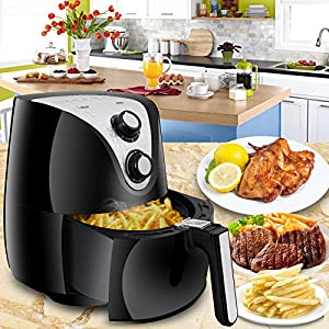 SUPER DEAL Electric Air Fryer XL 3.7 Quart W/ Timer, Temperature Control , Detachable Dishwasher Safe Basket, Fry Healthy with 80% Less Fat