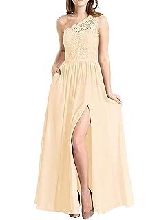 Amazon.com: Vestidos de dama de honor con un hombro de ...