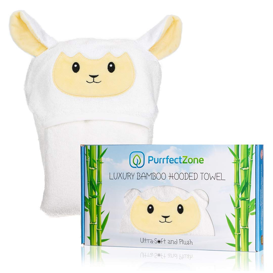 Purrfectzone Baby Towel with Hood - Organic Baby Towels - Bamboo Hooded Towels for Baby - Hypoallergenic Large Toddler Towels for Boys or Girls