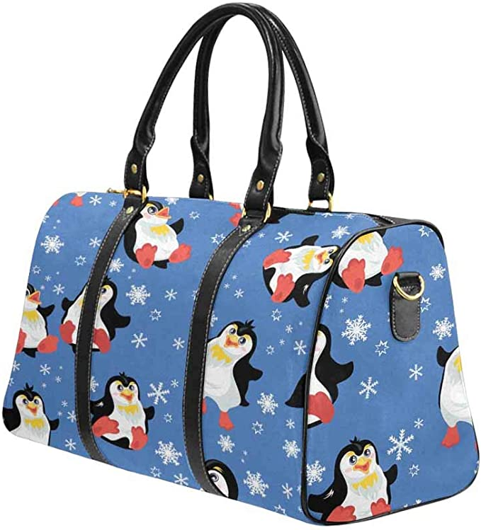 INTERESTPRINT Funny Cartoon Penguins Travel Duffel Bag with Pocket