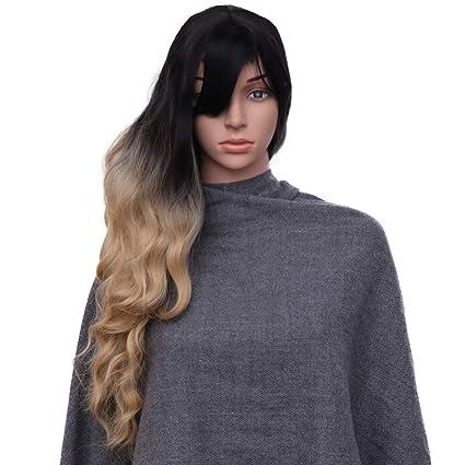 Lurrose Maíz Onda Peluca Larga Rizada Peluca Cosplay Peluca de Pelo sintética Gradiente Pelucas Sombrero con
