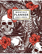 2021-2025 Monthly Planner: Cool Skull 2021-2025 Five Year Monthly Planner with To Do Lists, Vision Boards, Notes, Holidays | 5 Year Agenda, Diary, Calendar, Organizer | Funky Exotic Floral Leaf Pattern