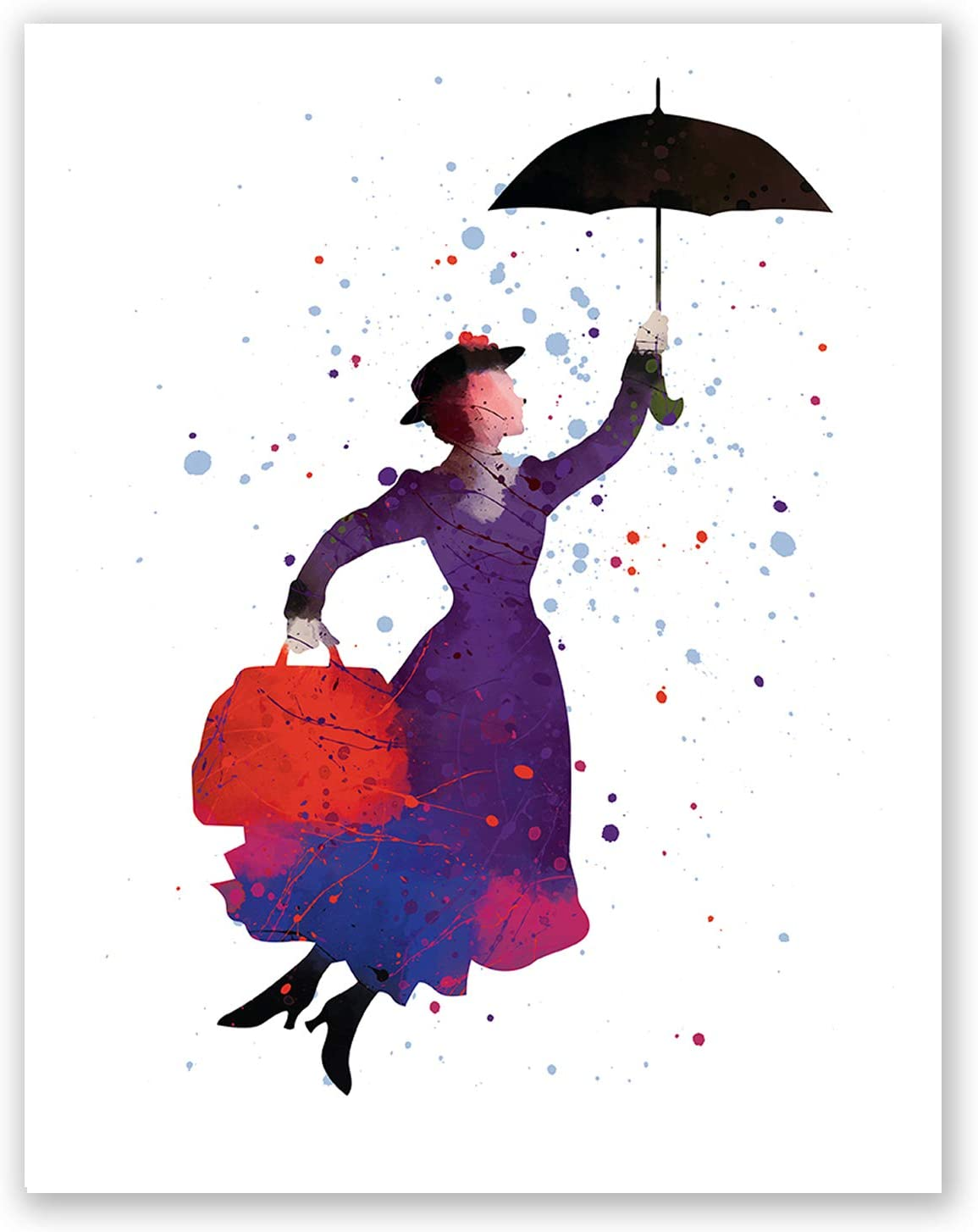 PGbureau Mary Poppins Nursery Poster – Kids Room Print – Children's Wall Art Home Decor – Party Decoration – Watercolor Artwork – Baby Birthday (8x10)