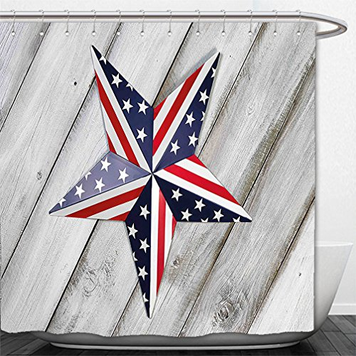 Interestlee Shower Curtain 4th of July Decor Independence Day Banner with Balloons National Parade Country Image Blue - Independence Macys