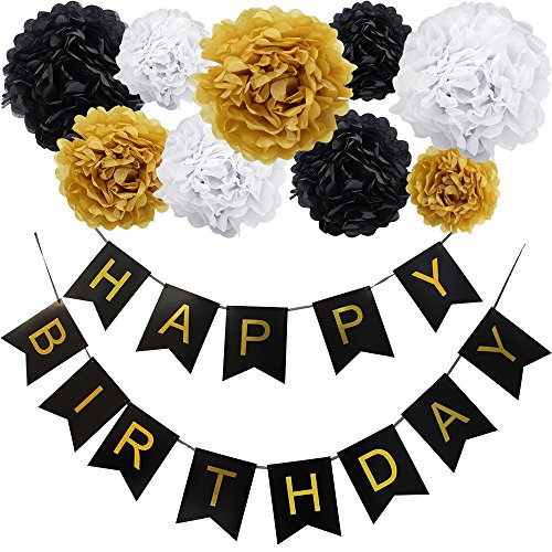 KUNGYO Happy Birthday Flag Bunting Banner and Set of 9 Tissue Paper Pom Poms Flowers Garland for Birthday Party Decorations (Black Banner Gold Letter) ()