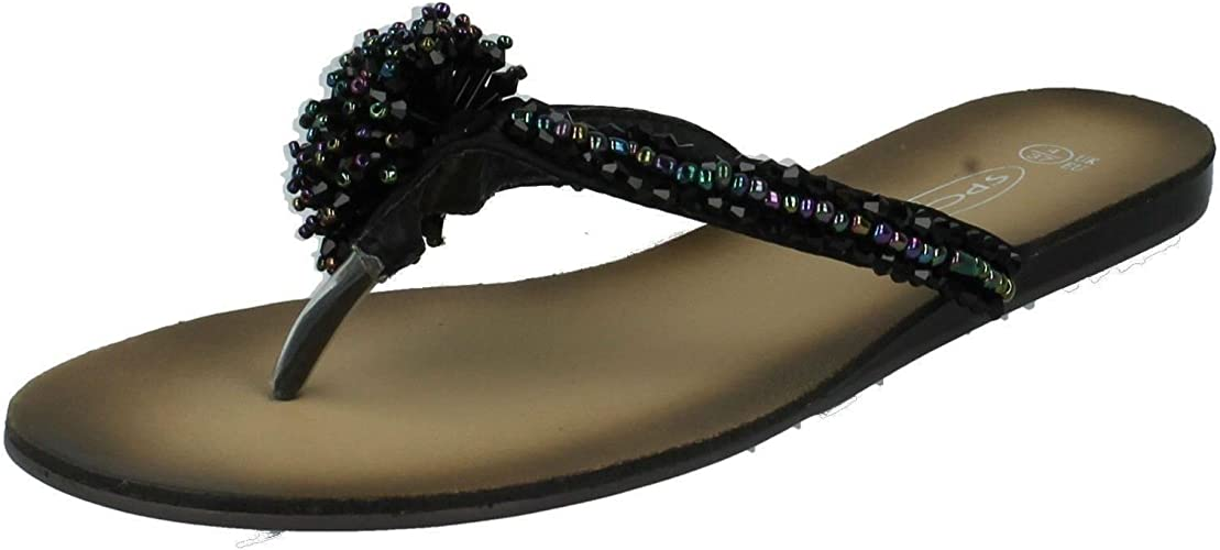 ladies spot on black satin and silver satin sandals f0474