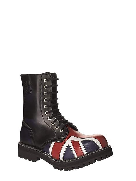 zapatos de separación 90ea1 b04be STEEL Botas Militares Botines Unisex Hombre Mujer Cuero Azul Desteñido  Bandera Inglesa 10 Ojetes Army Punk Punta de Acero