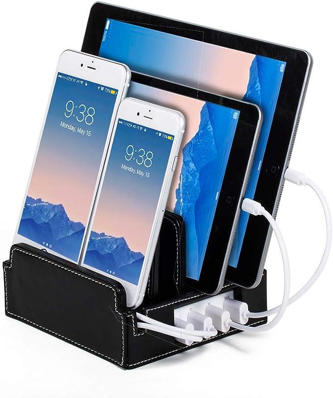 Black Leatherette Core Great Useful Stuff Multi-Device Charging Stations