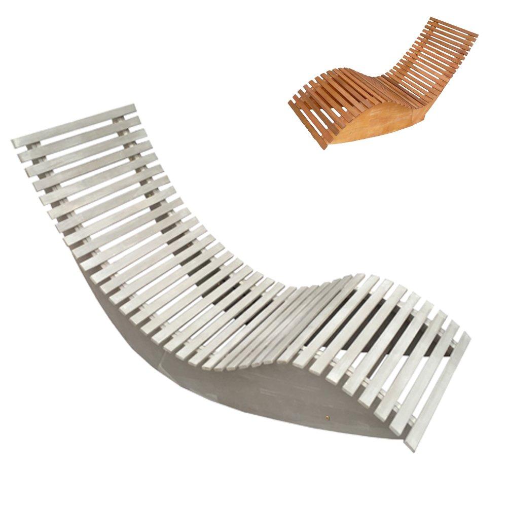 Bain de Soleil Apollon - Chaise Longue - lit de plage - forme courbée - ergonomique - pilant - 2 couleurs - résistant aux intempéries - bois certifié FSC acacia (blanc antique) Promafit