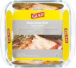Glad Square Glass Baking Dish – 1.2 Quart, Freezer-to-Oven and Dishwasher Safe, Small