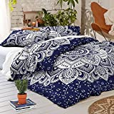 Psychedelic Celestial Sun Moon Duvet Cover Set Indian Sun Hippie Hippy Bedding Set Tie Dye Comforter Cover (Blue Lotos Ombre)