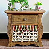 Jerry & Maggie - Nightstand Classic Countryside Dark Brown Wood - Night Stand Storage bedside table with 1 Vine Weaved Basket & 1 Drawer Real Natural Indus Wood Texture