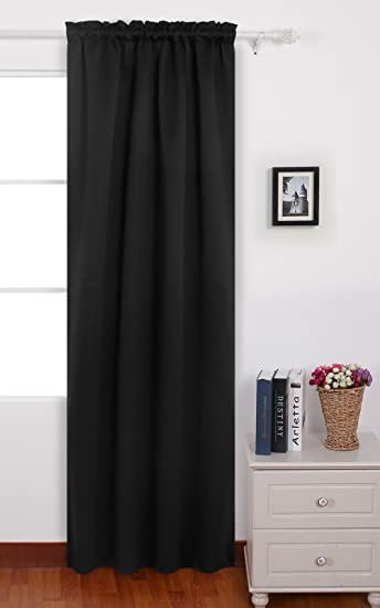 Deconovo Black Blackout Curtains Rod Pocket Curtain Panels Thermal Insulated  Curtains For Bedroom 42 W X