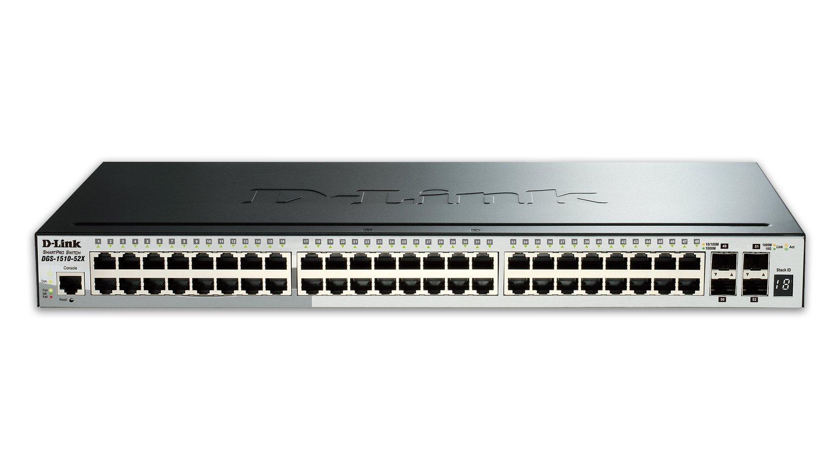 D-Link Systems 52-Port Gigabit SmartPro Stackable Switch & 4 10GbE SFP+ Ports (DGS-1510-52X) by D-Link