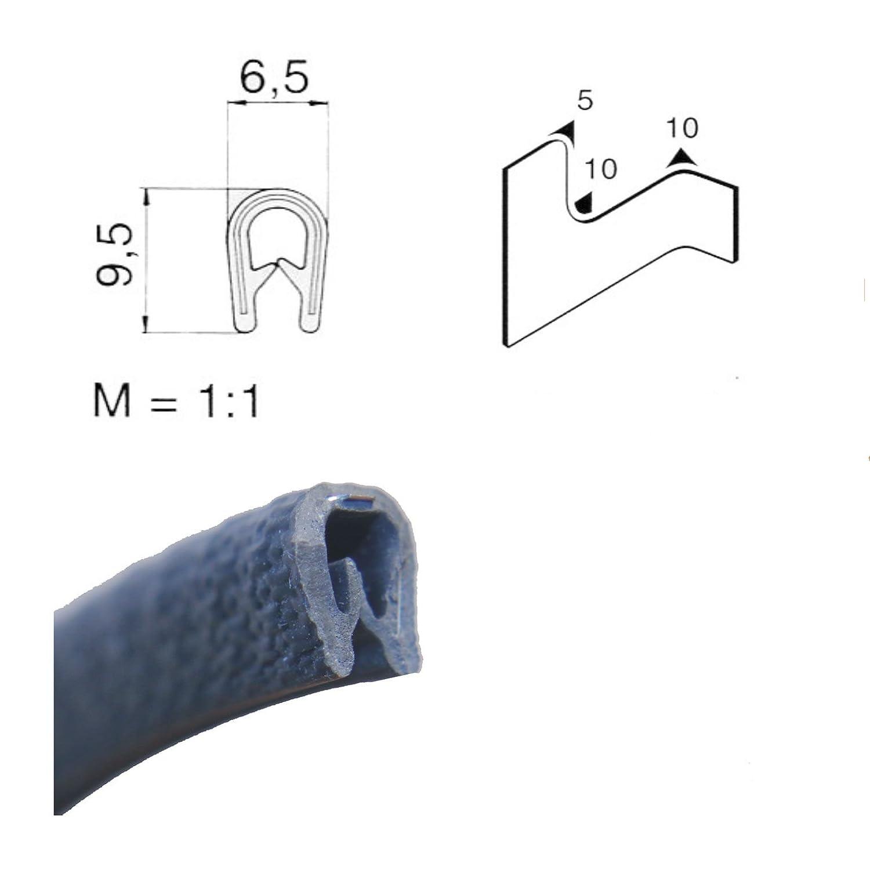 EUTRAS Kantenschutz 1188 5 m 3-6 mm SCHWARZ Kantenschutz Keder Kederband PVC Kantengummi