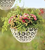 Large Open Weave Resin Wicker Hanging Basket