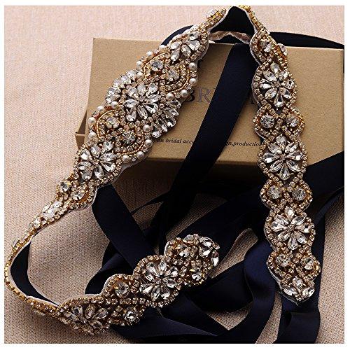 Rhinestone Crystal Large (Yanstar Navy Bridal Belts Wedding Belts In Handmade Clear Rose Gold Crystal Rhinestone Sashes For Bridal Wedding Dresses)