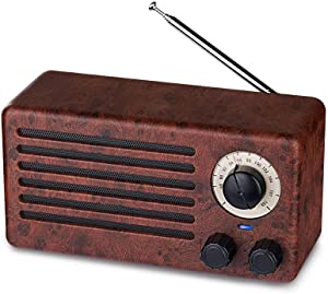 Retro Bluetooth Speakers, Dual 10W Classic Vintage Style Wireless with 10-Hour Playing Time, FM Radio, Built-in Mic, Handsfree Call, AUX Line, USB Flash Drive, Micro SD Card, HD Stereo Sound and Bass