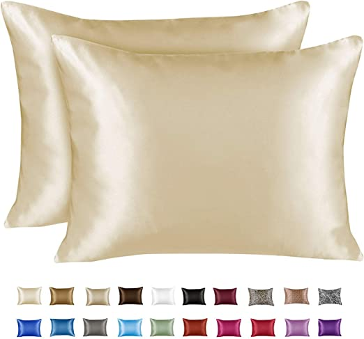 New Pair of Satin Pillowcases Set Queen//Standard Ivory