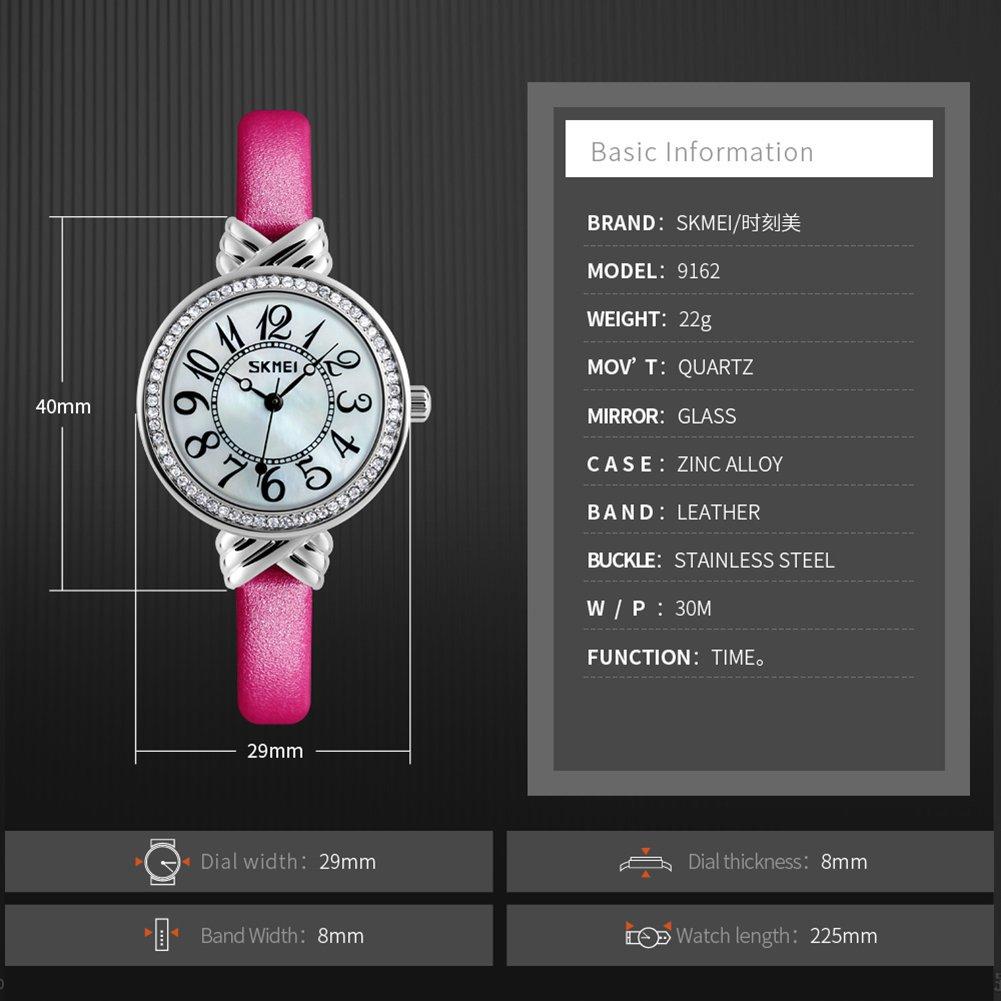 Luxury Brand Women Vintage Quartz Watch Fashion Female Crystal Leather Watch Girl Easy Reader Dress Watch (Light Blue) by Gosasa (Image #5)