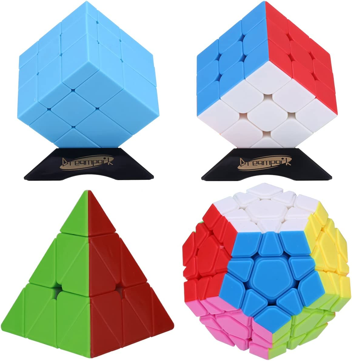 Dreampark 4-Pack Populer Stickerless Magic Cube Puzzle - Includes 3x3x3 Magic Cube, Pyraminx Pyramid Speed Cube, Megaminx Cube and Mirror Cube