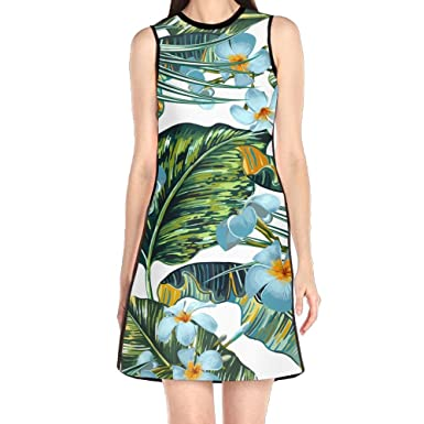 Hakalala Short Sleeve Dress Girl Dress Green Leaves Floral Print