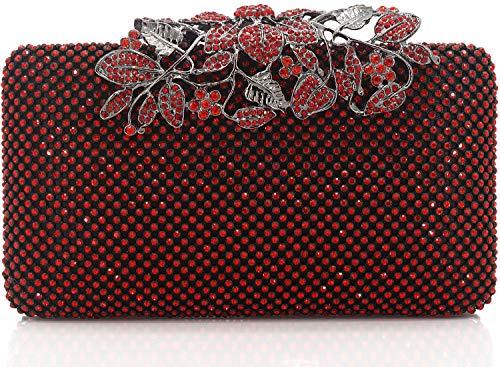 (Dexmay Womens Evening Bag with Flower clasp Wedding Handbag Rhinestone Crystal Clutch Purse Siam)