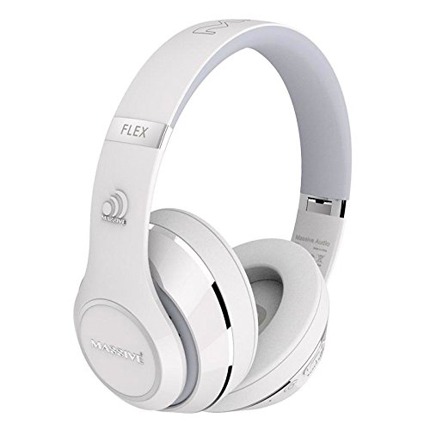 Massive Audio FLEX Noise Cancelling Bluetooth Headphones. Over Ear Bluetooth Headphones with Mic, Foam Ear Pads, and Over Sized Drivers for Heavy Bass. Enjoy 30 Hours of Great Sound! (White)